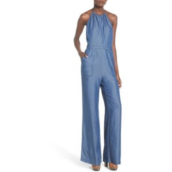 20e5496914bc Astr Pants - Astr chambray halter neck wide leg jumpsuit